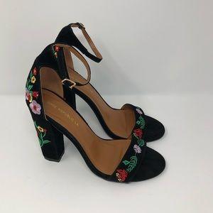 Shoe Republic, 8, Black Floral Embroidered Sandal